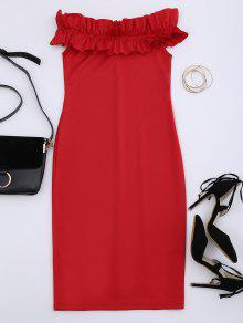 Off Shoulder Ruffled Bodycon Dress - Red M
