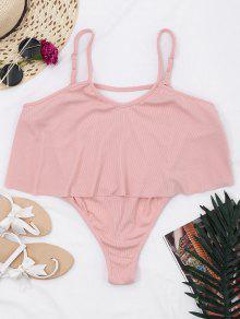 Cami Ribbed Ruffles Bodysuit - Rosa Xl