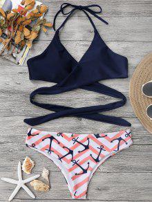 Bikini Envuelto Con Estampado De Ancla Y Zigzag - Rosa S