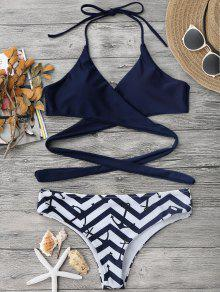 Bikini Envuelto Con Estampado De Ancla Y Zigzag - Azul Purpúreo L