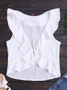 Front Tie Ruffles Cropped Tank Top - White S