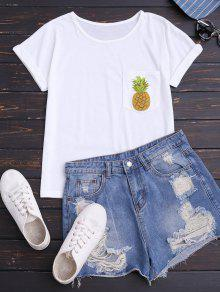 Piña Camiseta De Algodón Con Bolsillo - Blanco M