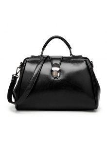 حقيبة اليد بجلد اصطناعي - أسود