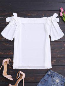 Bowknot Chiffon Off Shoulder Top - White M