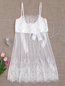 Mesh Bowknot Lace Babydoll With Thong Panties - White S