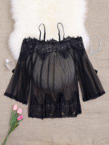 Mesh Cami Lace Panel Babydoll With Panties - Black