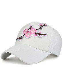 المزهرة فرع التطريز قبعة بيسبول - أبيض