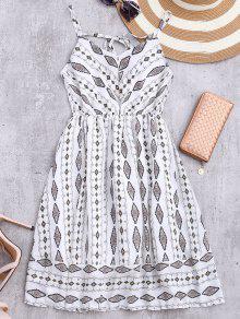 Vestido De Sol De Gasa Con Tirantes Finos Con Rombos De Colores - Blanco