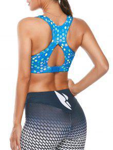 الملونة المطبوعة انقطاع مبطن راسيرباك الرياضة الصدرية - أزرق سماوي L
