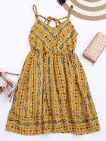 Vestido De Sol De Gasa Con Tirantes Finos Con Rombos De Colores - Amarillo