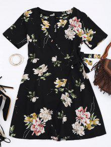 Mini Vestido Envuelto Floral - Floral S