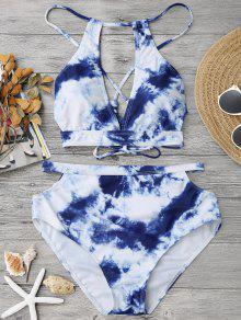 Bikini Ahuecado De Tie-dye Con Cintura Alta - Azul Y Blanco S