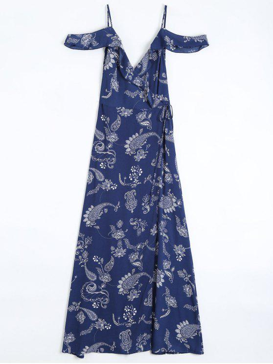 sale Cold Shoulder Paisley Ruffles Maxi Wrap Dress - PURPLISH BLUE S