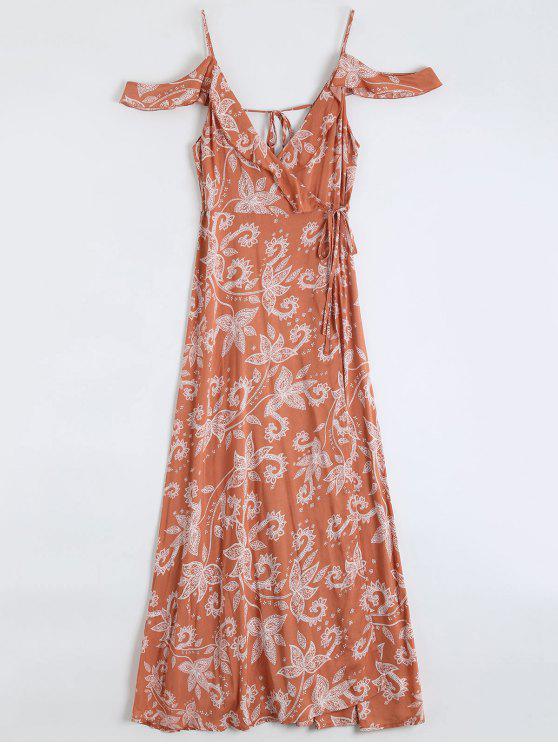 فستان لف ماكسي كشكش مزركش باردة الكتف - أحمر برتقالي L