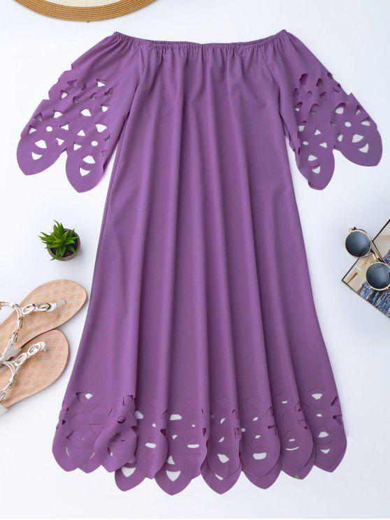 Vestido de Encaje con Vuelo con Hombros al Aire - Púrpura L