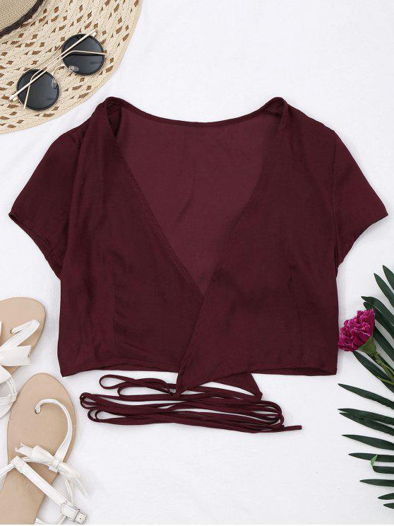 women's Criss Cross Cropped Wrap Top - WINE RED S