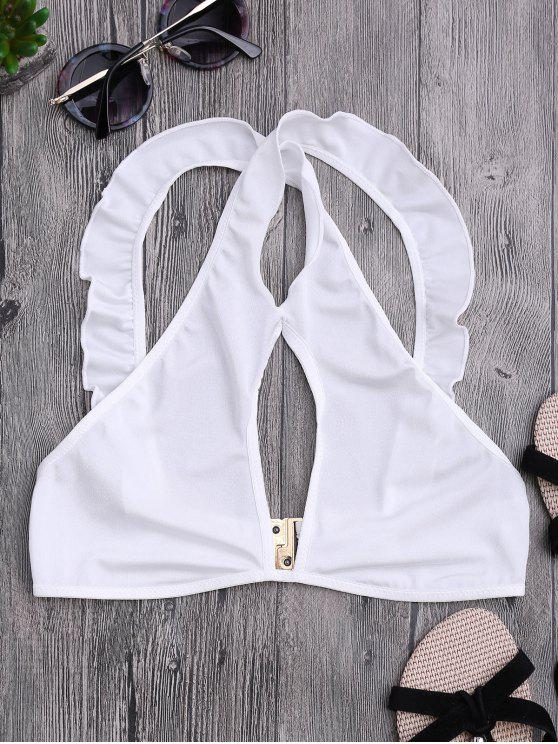 shops Ruffles Cut Out Cropped Top - WHITE S