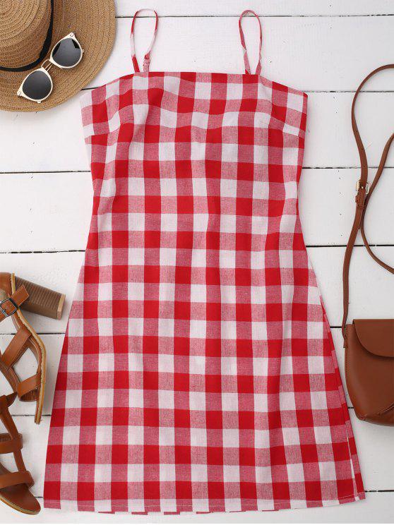 women Slip Tie Back Plaid Dress - RED S