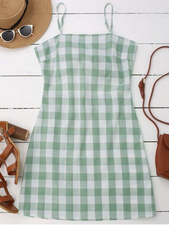 Slip Riemchen Rücken Kariertes Kleid - Grün XL