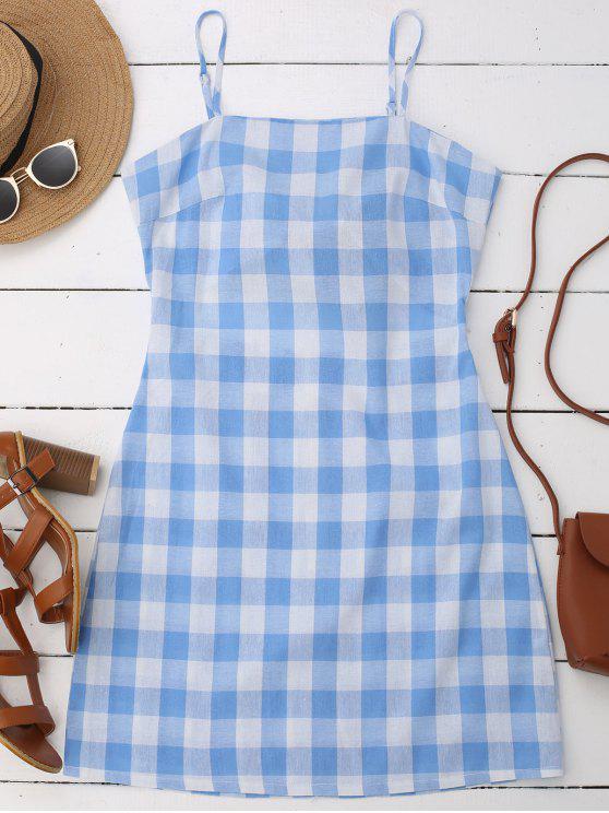 Vestido a Cuadros de Tirantes Finos de Cierre con Nudo de Cordón en Espalda sin Mangas - Azul M