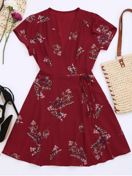 fashion Floral Cap Sleeve Wrap Dress - RED L