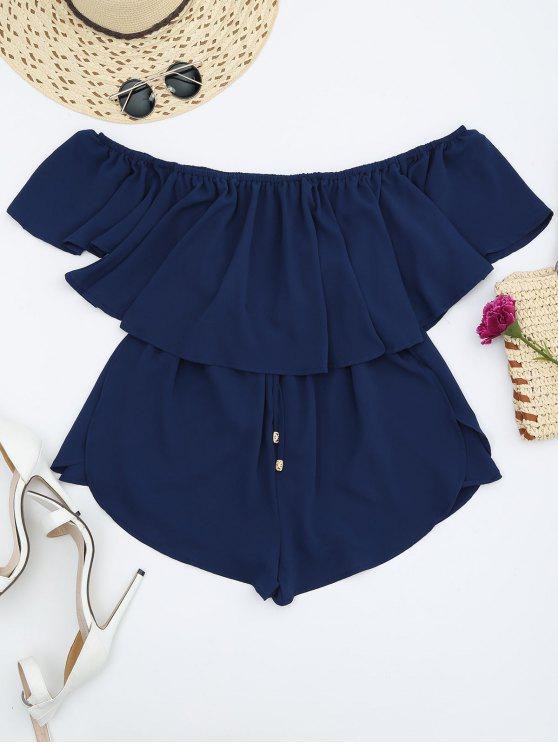shop Off Shoulder Drawstring Waist Chiffon Romper - CADETBLUE S