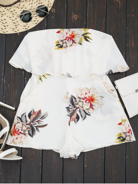 fancy Floral Strapless Ruffle Romper - WHITE L