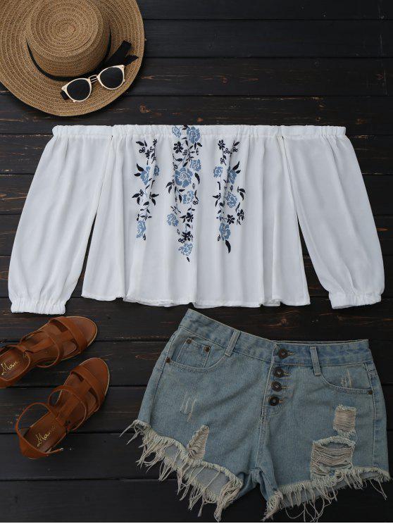 Floral Sholder blusa de gasa - Blanco L