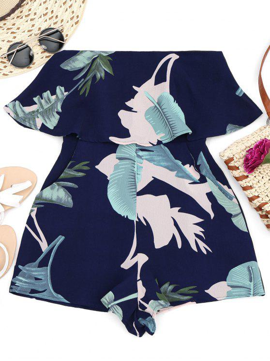 hot Overlay Leaf Print Tube Romper - MULTI L