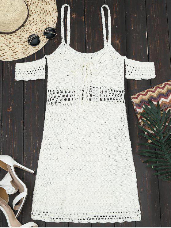 shops Hollow Out Lace Up Cami Knit Dress - OFF-WHITE XL