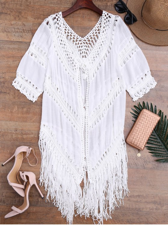 e101c21d8a6ca 26% OFF  2019 Tassels Open Front Boho Beach Cover Up In WHITE