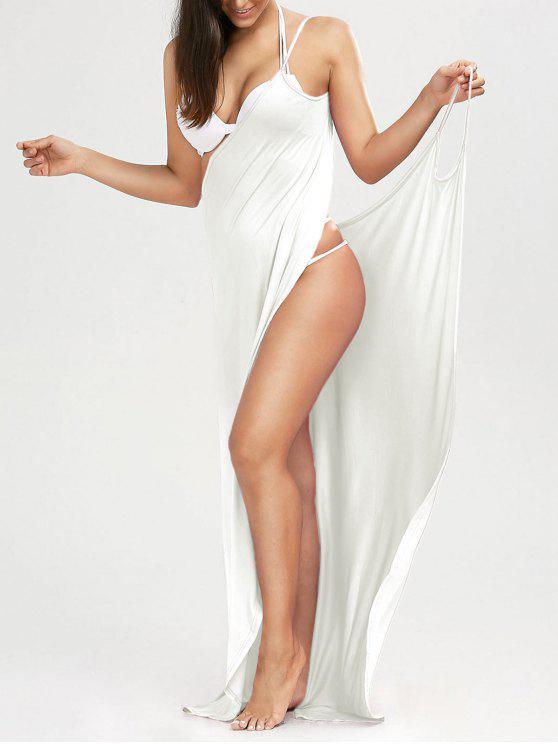 Maxi Vestido Encubierto de Playa con Tirantes Finos - Blanco XL