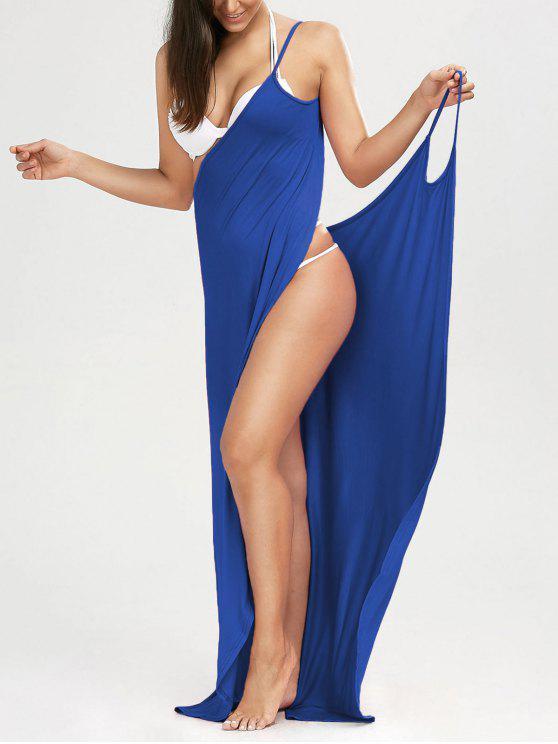 Maxi Vestido Encubierto de Playa con Tirantes Finos - Azul M