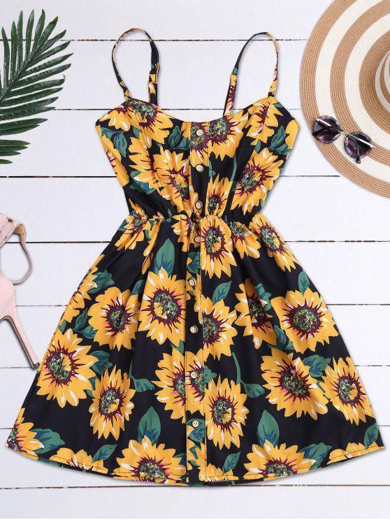 Cami Blumen Mini Kleid mit Rüschen - Schwarz Eine Größe