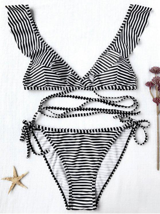 Cuerda Abrigo De Bikini Conjunto Rayas c3Lj54ARq
