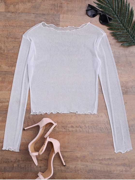 affordable Shiny Sheer Mesh Beach Cover Up Top - WHITE L