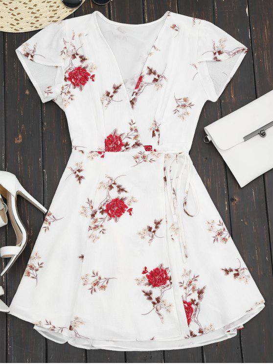 Robe portefeuille col plongeant imprimée fleur avec mancherons - Blanc S