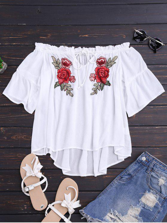 hot Floral Embroidered Off Shoulder Top - WHITE M