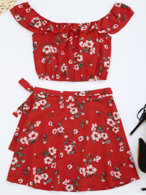 trendy Off Shoulder Floral Top with Wrap Skirt - RED M