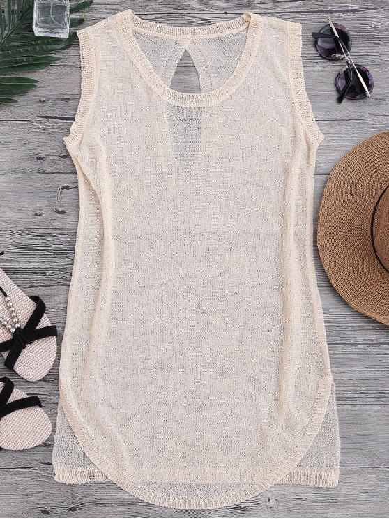 women See-Through Beach Cover Up Tank Dress - BEIGE ONE SIZE