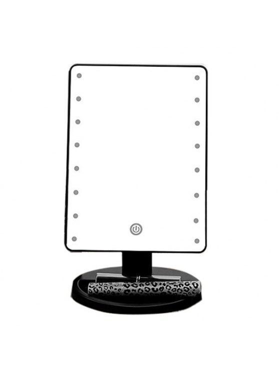 شاشة تعمل باللمس قابل للتعديل ضوء 16 المصابيح سطح المكتب مرآة ماكياج - أسود