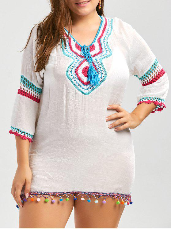 new Plus Size Crochet Panel Fringe Tunic Cover Up - WHITE ONE SIZE