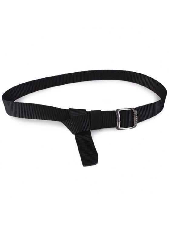 مستطيل معدني مشبك قماش حزام - أسود