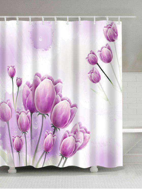 توليب الأزهار طباعة ماء الحمام دش الستار - زهري W59 بوصة * L71 بوصة