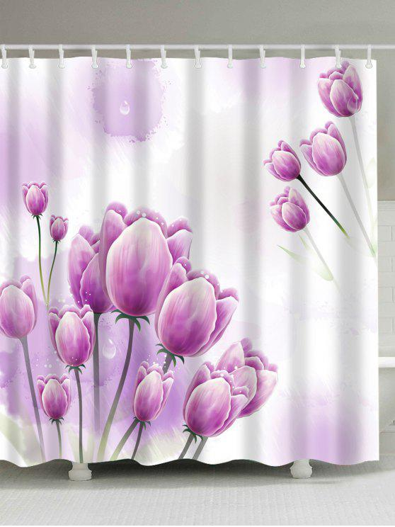 Outfits Tulip Floral Print Waterproof Bathroom Shower Curtain