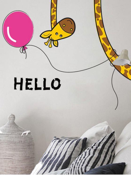 الكرتون الزرافة للإزالة نوم الجدار ملصق - مزيج ملون 30 * 60cm