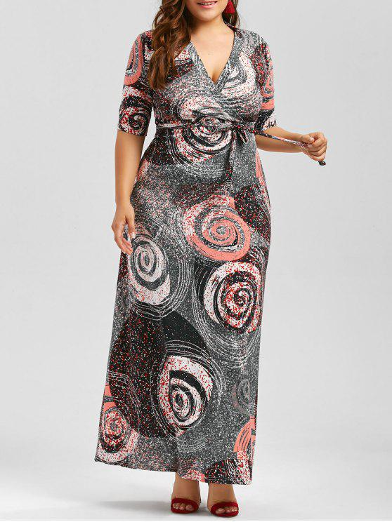 Galaxy Print Plus Size Floor Length Dress With Belt COLORMIX
