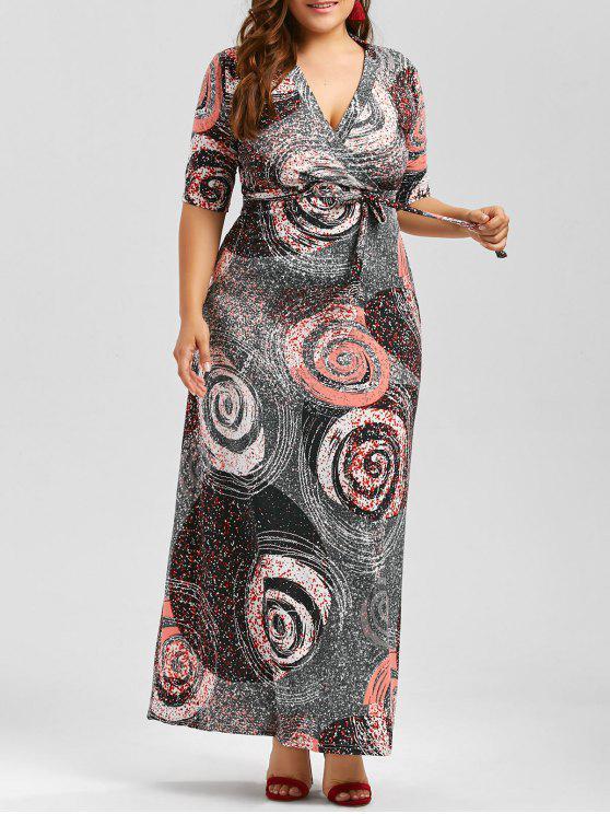 Galaxy Print Plus Size Floor Length Dress With Belt