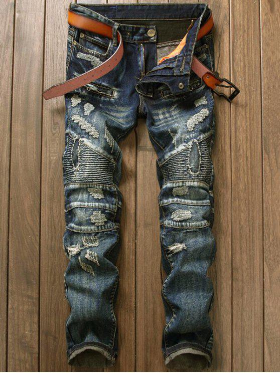 Jeans pour Cyclistes avec Fermeture à Glissière - Denim Bleu 34