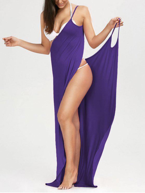 Maxi Vestido Encubierto de Playa con Tirantes Finos - Violeta L